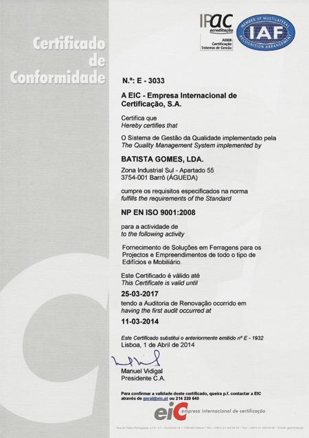 Certificado EN ISO 9001