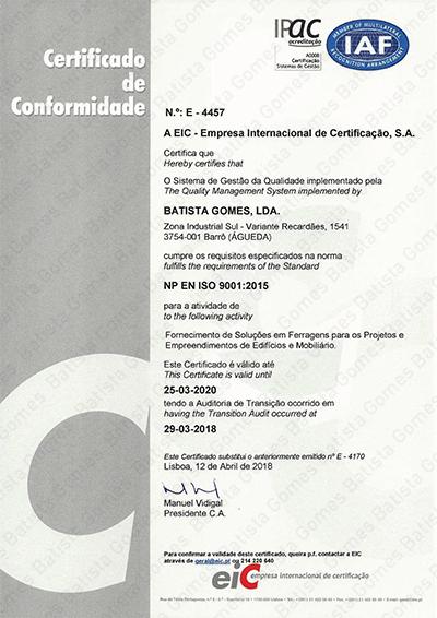 Certificado EN ISO 9001:2015