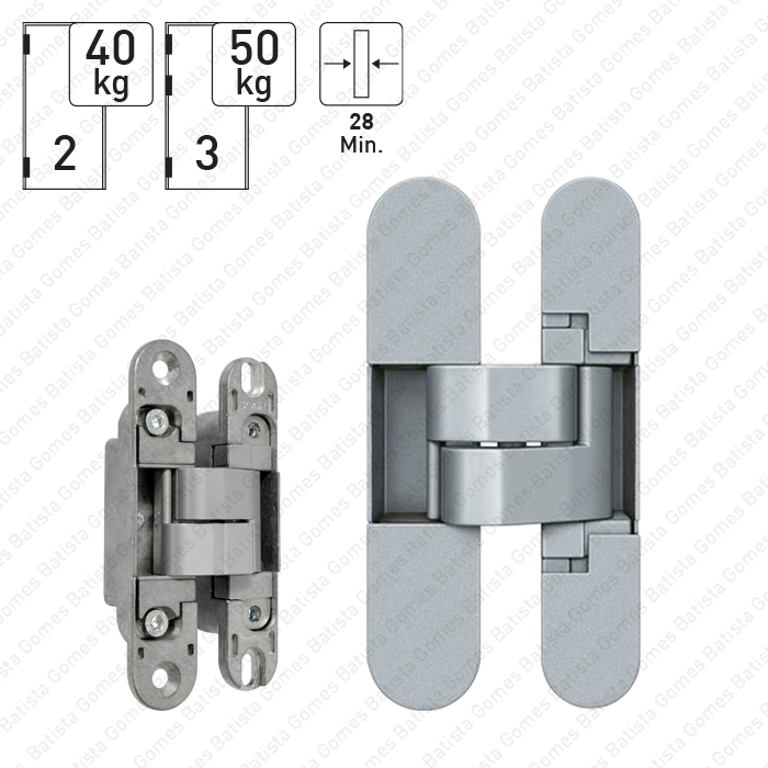 Batista Gomes - D.505.28.3D - Dobradiça oculta / Invisível 3D - Carga 40Kg (2 dobradiças)