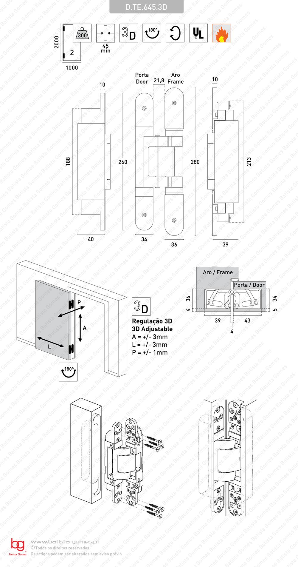 Dobradiça oculta / invisível TECTUS 3 D - Carga 300Kgs (2 Dobradiças)