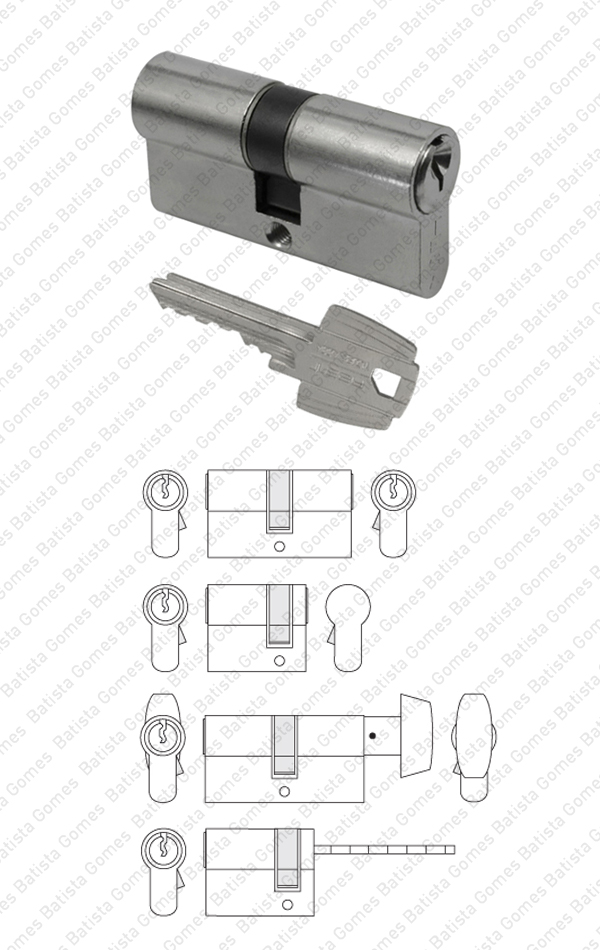 Batista Gomes - CIL.5030; CIL.503.B; CIL.5030.R -TE5 - Cilindro perfil europeu TE5 - Chave / Chave; Chave / Cego; Botão / Chave; Chave / Palhetão - TESA