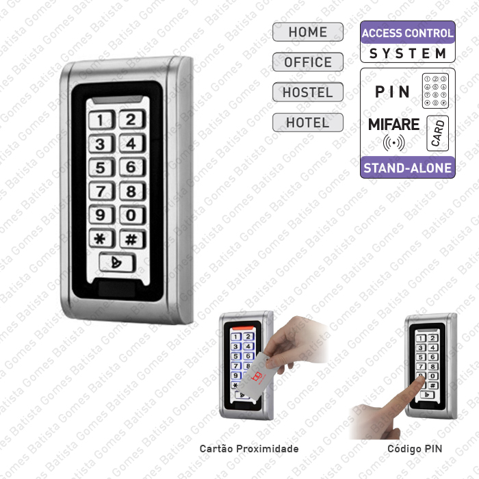 Controlo de acessos com código PIN e cartão de proximidade / auto-programável
