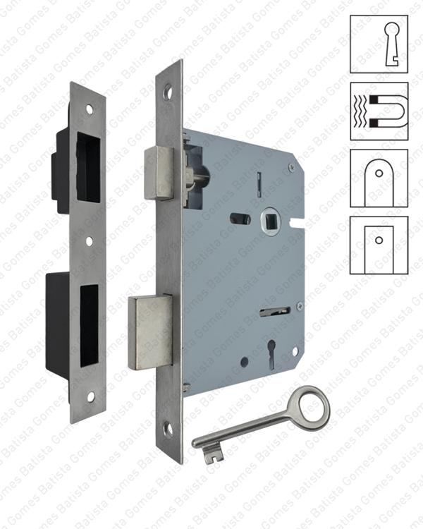 Batista Gomes - F.716.91.01 - Fechadura de embutir magnética com chave ( Série 716.91 ) - INOX / LATÃO