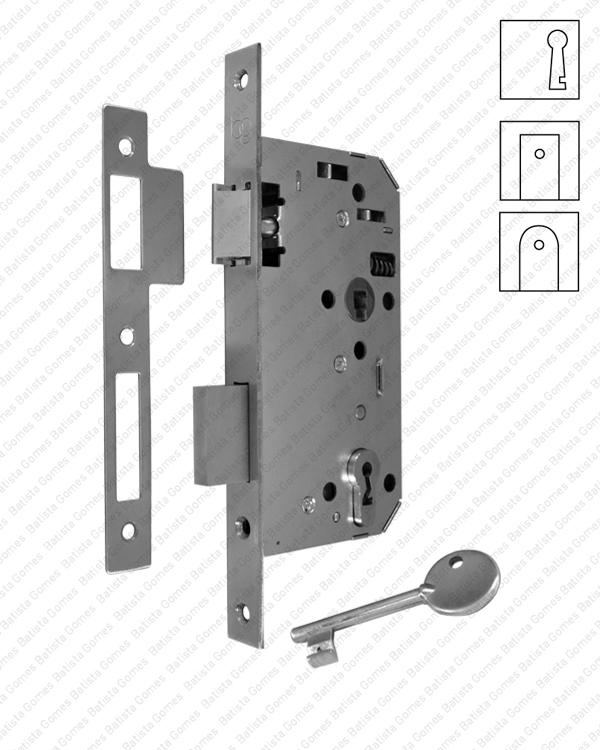Batista Gomes - F.879.1.01 - Fechadura embutir com chave ( Série 879 ) - INOX