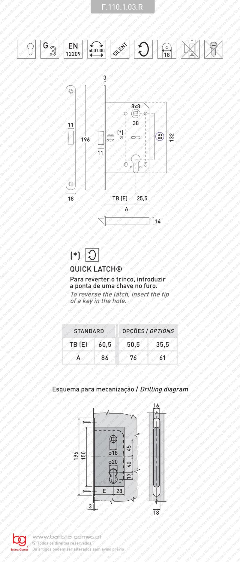 Fechadura embutir Mediana Evolution para cilindro europeu
