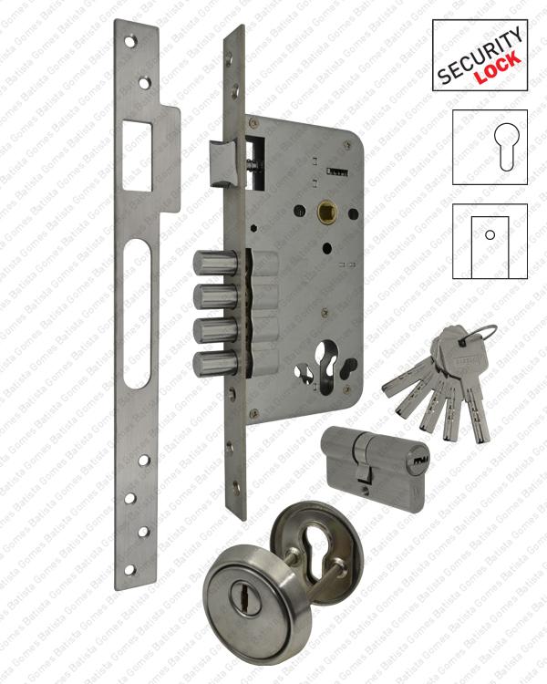 Batista Gomes - F.514.1.03 - Fechadura segurança embutir (1 ponto fecho) para cilindro europeu