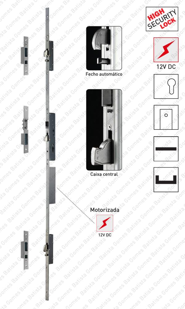 Batista Gomes - F.7A36 - Multiblindo - Fechadura alta segurança multiponto para portas em alumínio - Automática / Motorizada