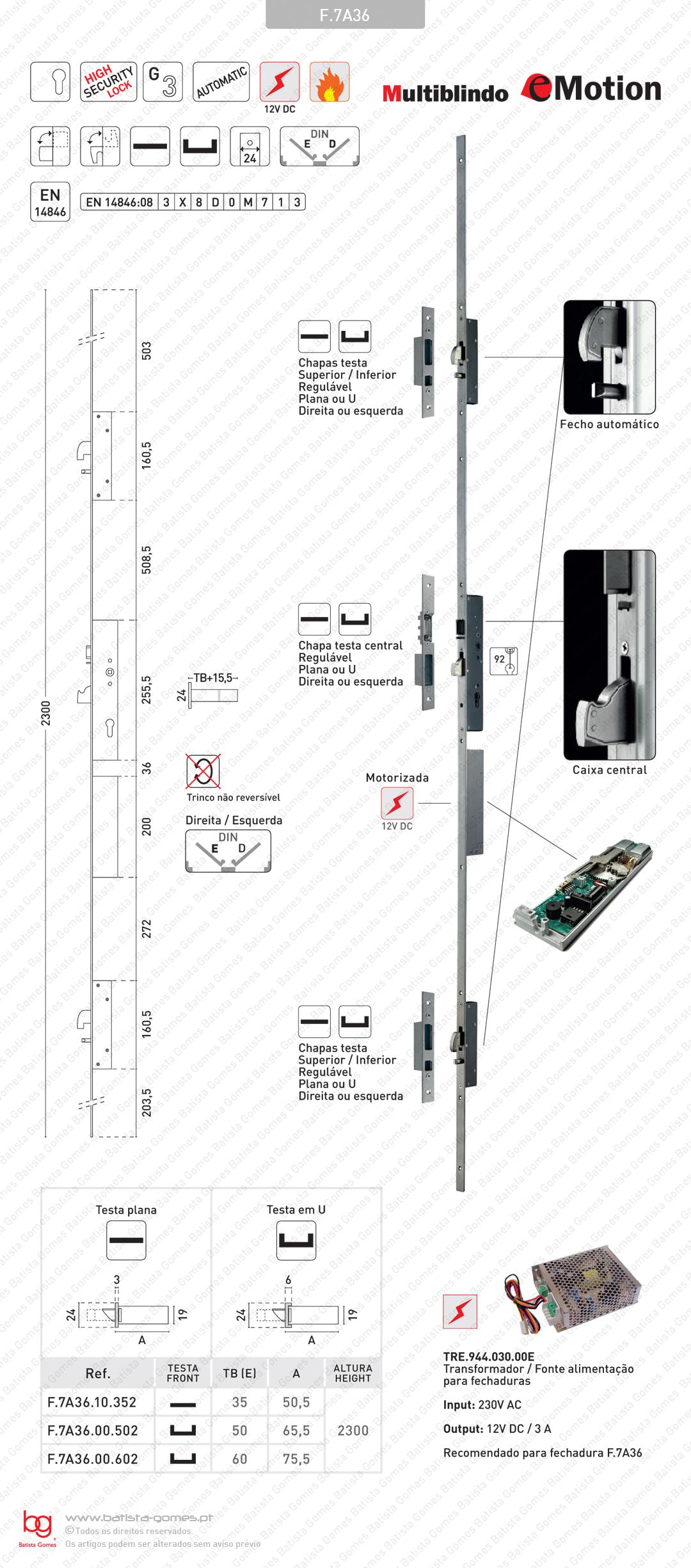 Fechadura alta segurança multiponto para portas em alumínio - Automática / Motorizada