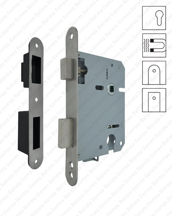 Batista Gomes - F.716.91.03 - Fechadura de embutir magnética para cilindro ( Série 716.91 ) - INOX / LATÃO