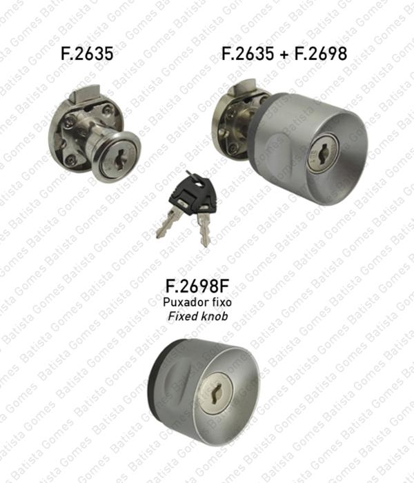 Batista Gomes - F.2635 - F.2698 - F.2698.F - Fechadura trinco com cilindro amovível + puxador para armários