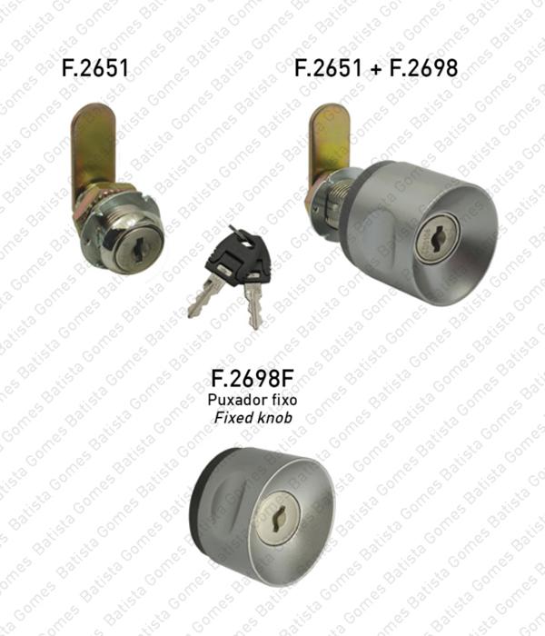 Batista Gomes - F.2651 - F.2698 - F.2698.F - Fechadura com patilha com cilindro amovível + puxador para armários