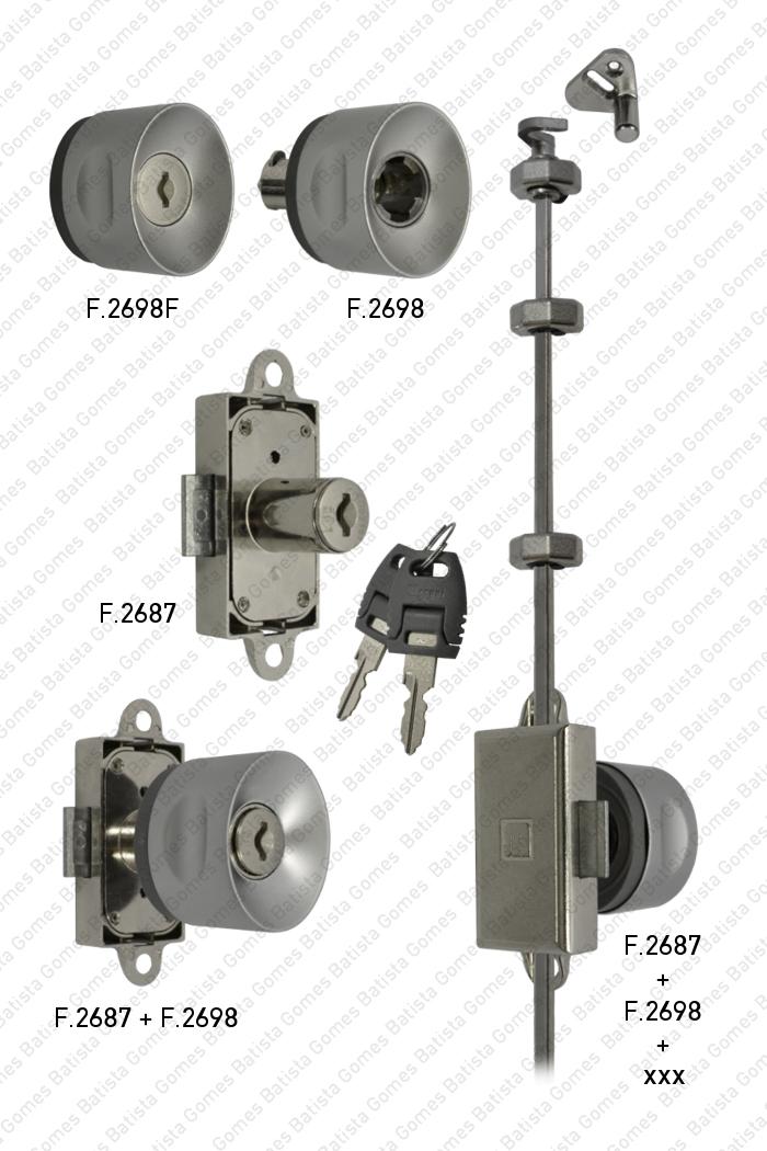 Batista Gomes - F.2687 / F.2698 / F.2698.F - Fechadura com cilindro amovível + Puxador para armários