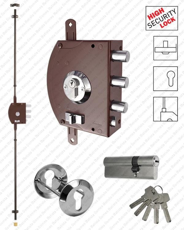 Batista Gomes - F.2400.UE.02 - Fechadura alta segurança de sobrepôr para trancas verticais - Com cilindro europeu