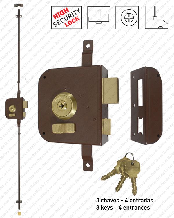 Batista Gomes - F.792.4E - Fechadura alta segurança de sobrepôr para trancas verticais