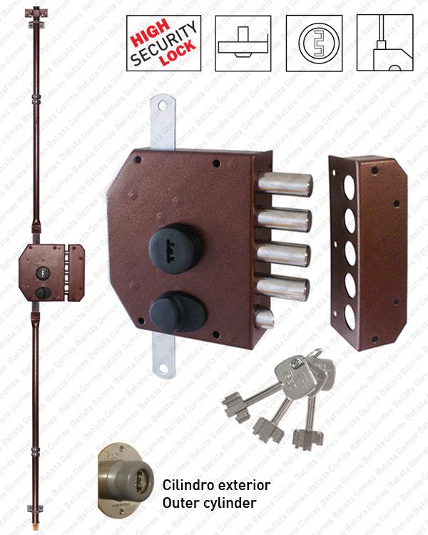 Batista Gomes - F.913105 - Fechadura alta segurança de sobrepôr para trancas verticais