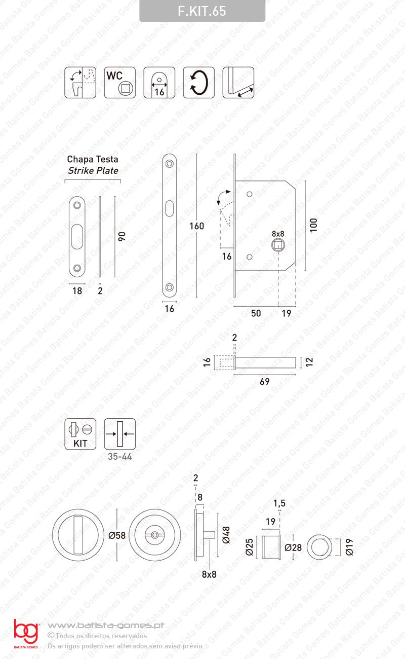Kit Fechadura com conchas com Botão + Botão Emergência
