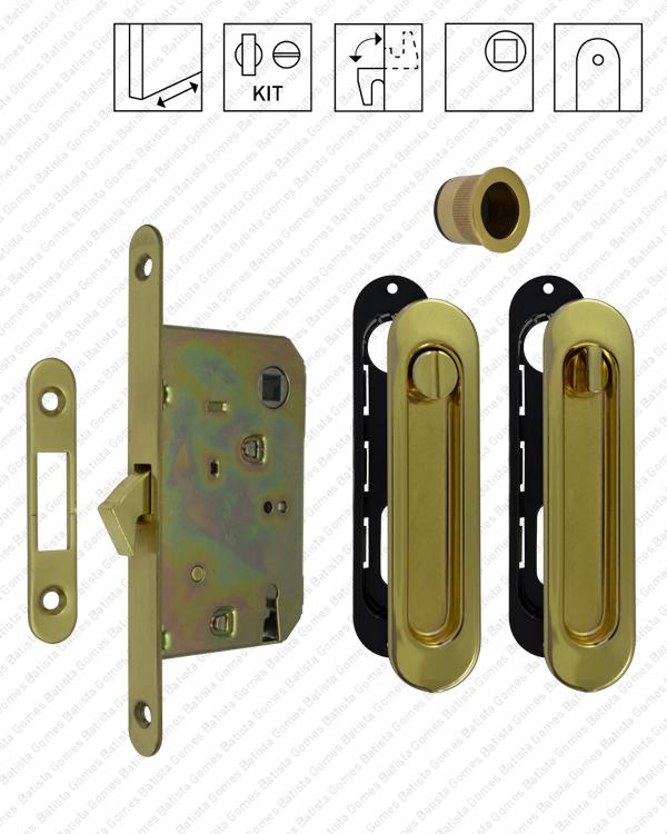 Batista Gomes - F.KIT.10 - Kit Fechadura com conchas ovais com Botão + Botão emergência