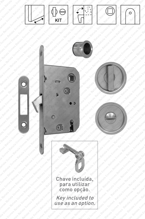 Batista Gomes - KIT F.30 - Kit Fechadura com conchas com Botão + Botão Emergência