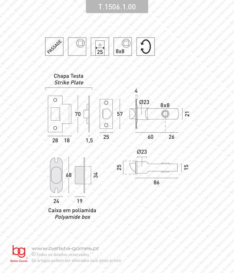 Trinco passagem tubular - INOX 304 / LATÃO
