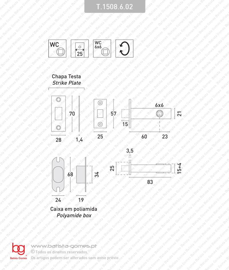 Fecho tubular com língua Q.6mm - INOX 304 / LATÃO