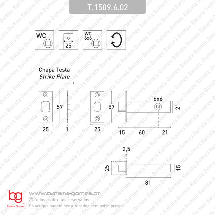 Fecho tubular com língua Q.6mm  - INOX 304