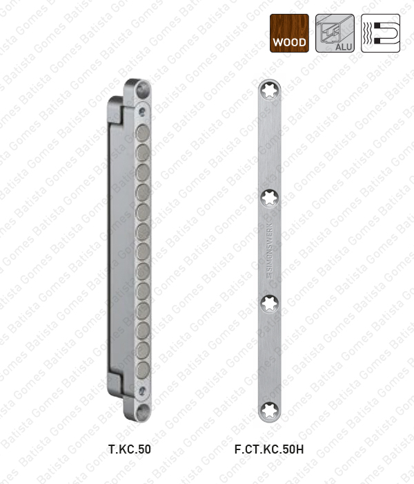Batista Gomes - T.KC.50 / F.CT.KC.50H - Trinco magnético / Chapa testa - aplicação portas em madeira e alumínio