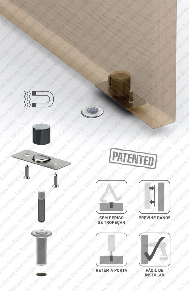 Batista Gomes - BP.1490  FANTOM - Batente limitador de abertura de porta - magnético e invisível