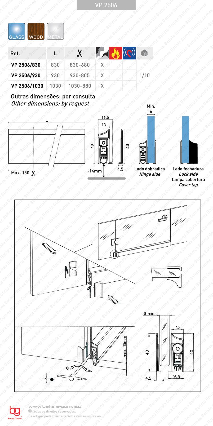 Veda portas sobrepôr para portas de vidro, madeira e metálicas