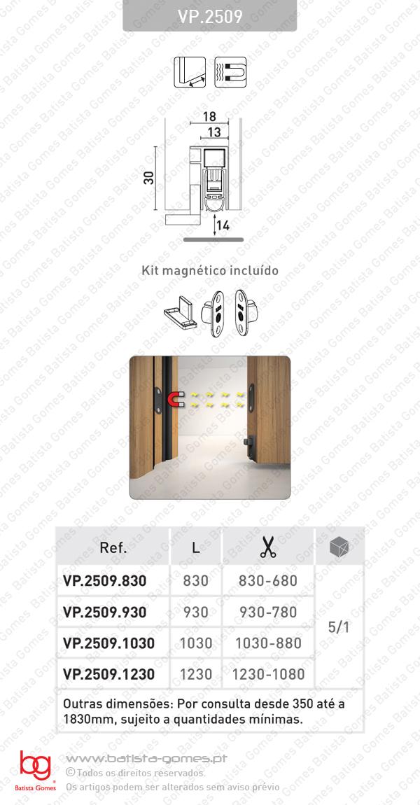 Veda portas encastrável para portas de correr de madeira e metálicas