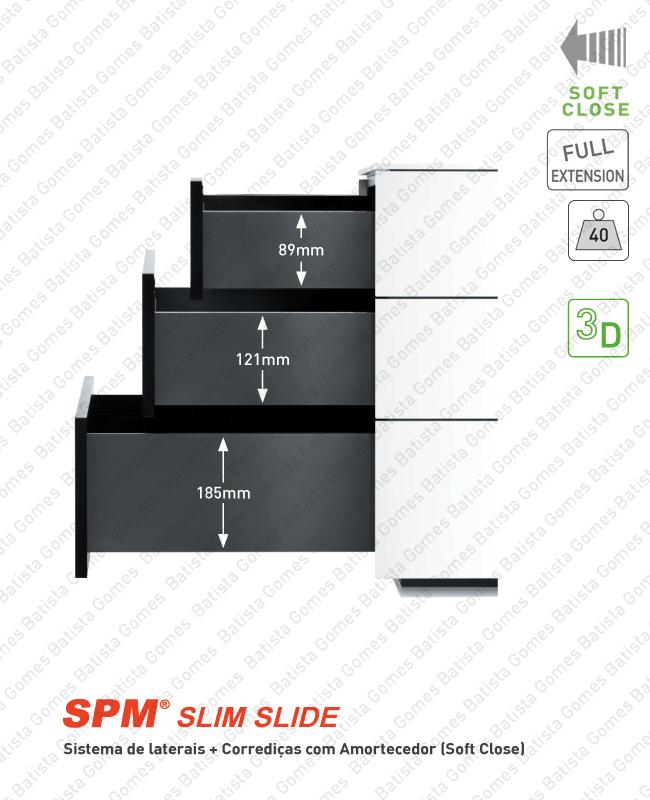Batista Gomes - CL.190.1 - SPM SLIM SLIDE - Sistema de laterais com corrediças Soft-Close para gavetas e gavetões / Extração total / 40kg
