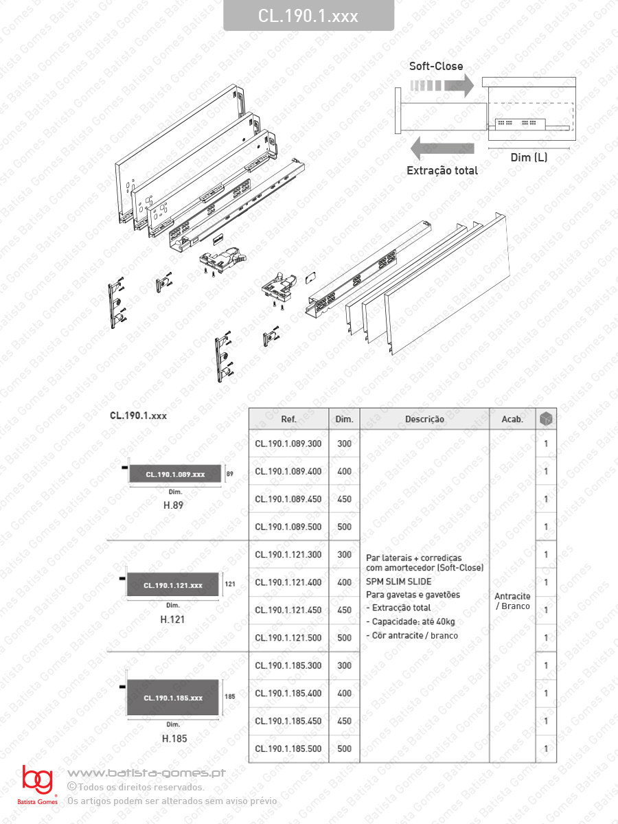 Sistema de laterais com corrediças Soft-Close para gavetas e gavetões / Extração total / 40kg