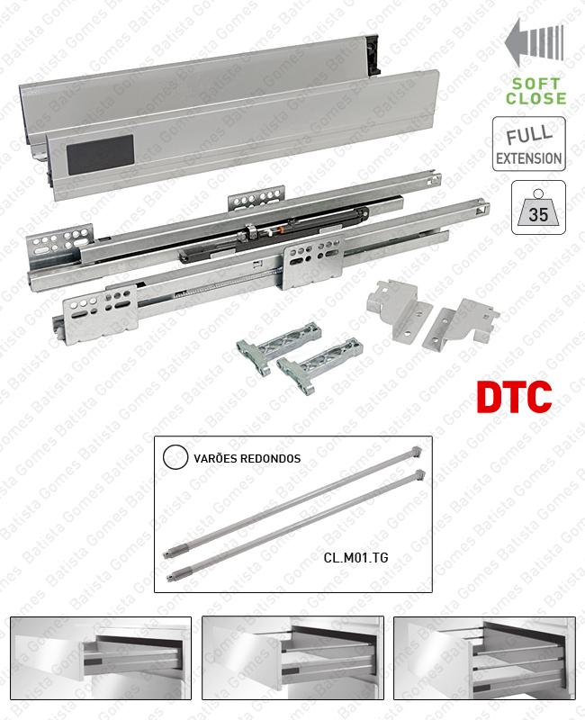 Batista Gomes - CL.M01 - Sistema de laterais com corrediças Soft-Close para gavetas e gavetões / Extração total / 35kg