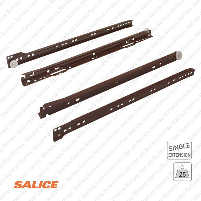 Corrediças para gavetas SALICE / Extração parcial / 25Kg