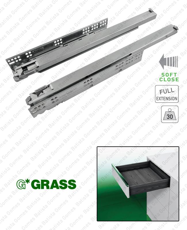 Batista Gomes - DYNAMOOV - COR.7002 - GRASS - Corrediças ocultas com Soft-Close para gavetas / Extração total / 30kg