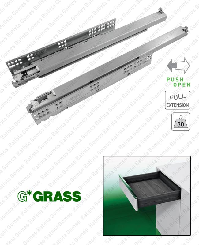 Batista Gomes - DYNAMOOV TIPMATIC - COR.7003 - GRASS - Corrediças ocultas TIPMATIC (Sistema Push Open) para gavetas / Extração total / 30kg