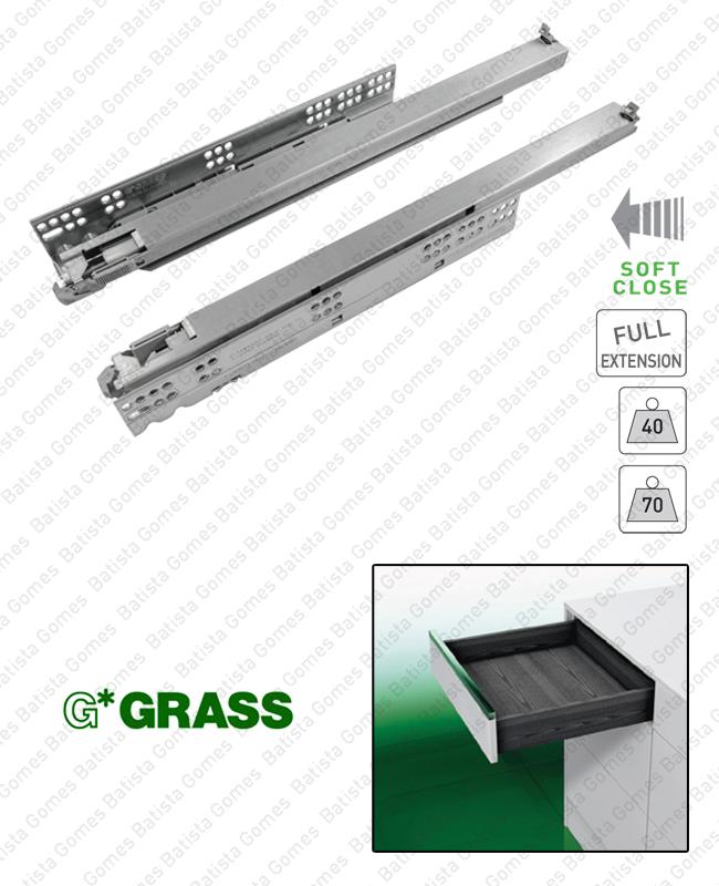 Batista Gomes - DYNAPRO - COR.7005.1 / COR.7006.1 - GRASS - Corrediças ocultas com Soft-Close para gavetas / Extração total / 40 e 70kg