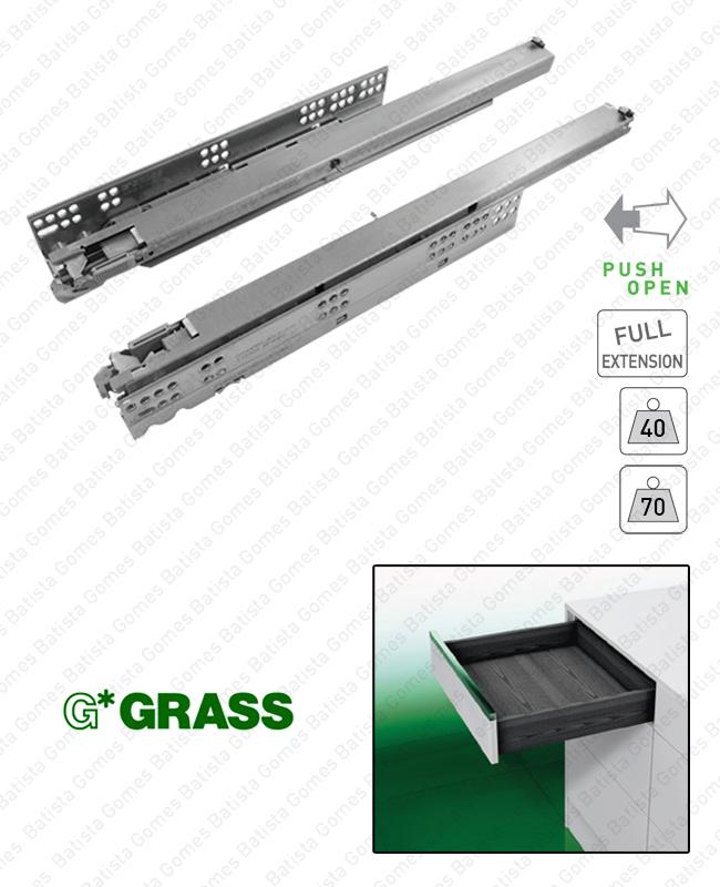 Batista Gomes - DYNAPRO TIPMATIC - COR.7008 - GRASS - Corrediças ocultas TIPMATIC (Sistema Push Open) para gavetas / Extração total / 40 e 60kg