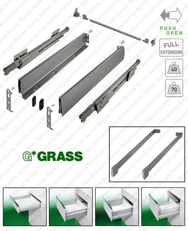 Batista Gomes - NOVA PRO DELUXE TIPMATIC PLUS - GRASS - Sistema de laterais com corrediças TIPMATIC (Sistema Push Open) para gavetas e gavetões / Extração total / 40 e 70kg