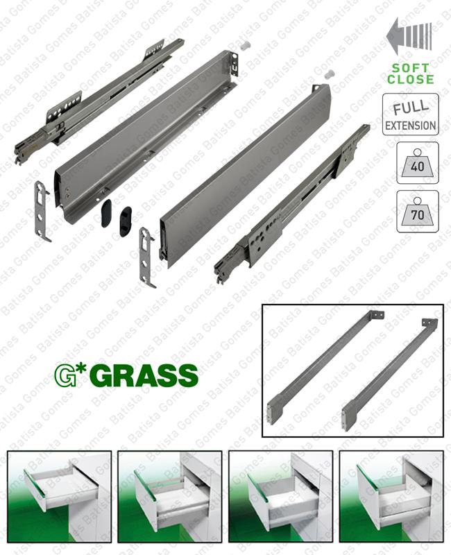 Batista Gomes - NOVA PRO DELUXE - GRASS - Sistema de laterais com corrediças Soft-Close para gavetas e gavetões / Extração total / 40 e 70kg