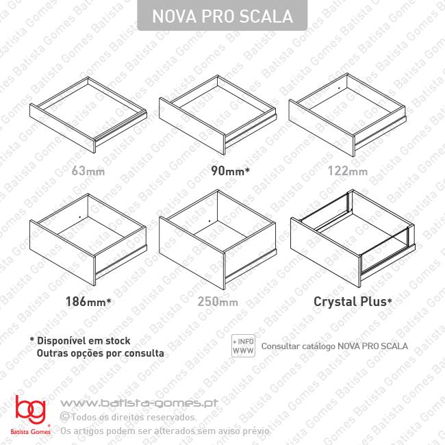 Sistema de laterais NP SCALA com corrediças NP-TMSC Soft-Close para gavetas e gavetões / Extração total / 40 e 70kg