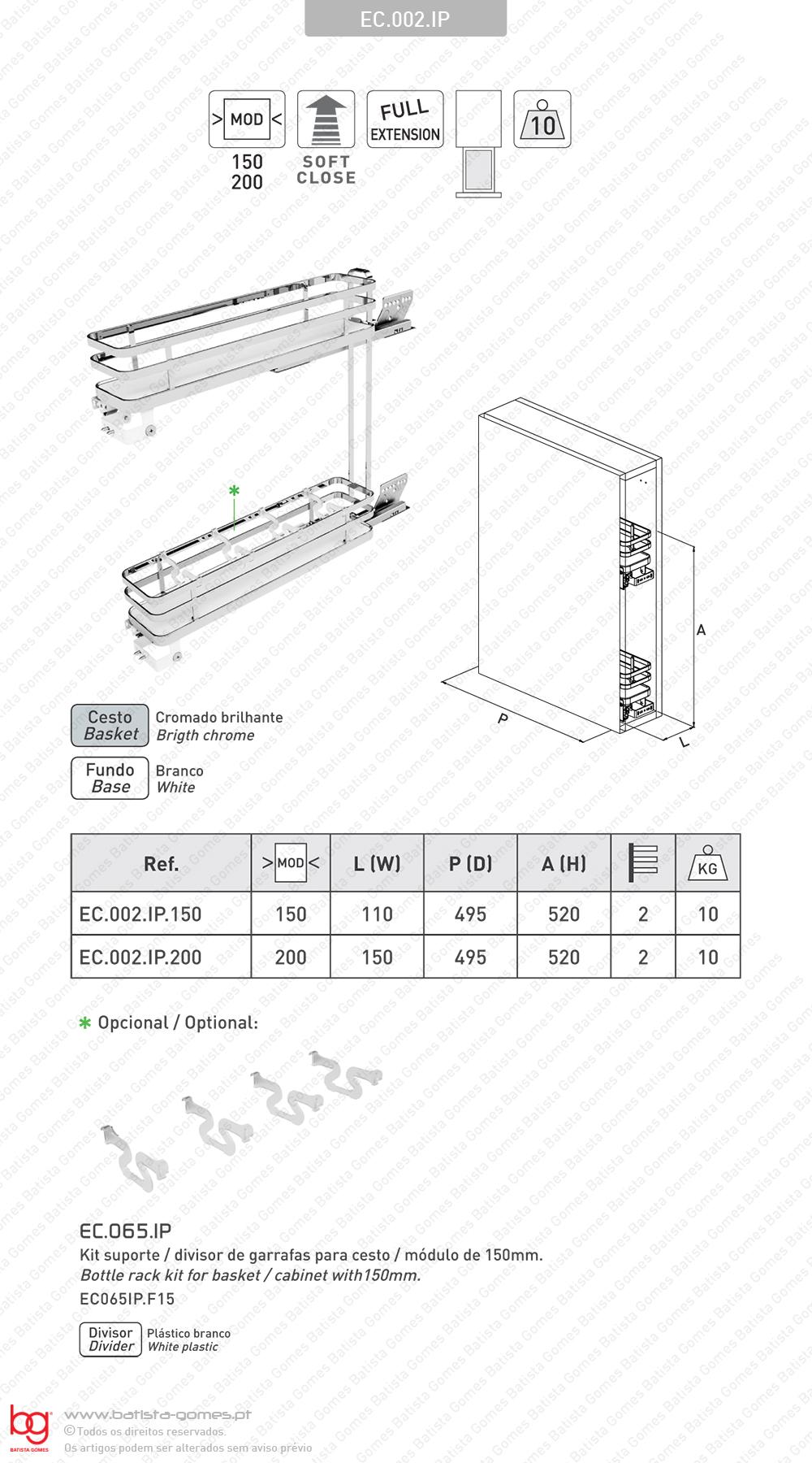 Despenseiro multiusos para aplicação porta frontal - Extracção total com Soft-close - Mód. 150 / 200 - Cromado