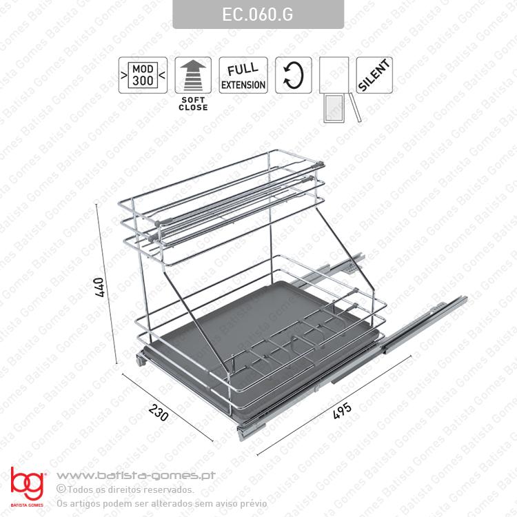 Despenseiro multiusos para aplicação porta lateral - Extração total com soft-close - Mod. 300 - Cromado