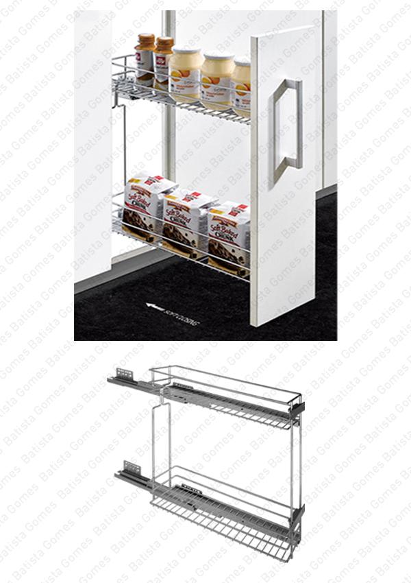 Batista Gomes - EC.174072 - Despenseiro multiusos para aplicação porta frontal - Extração total com soft-close - Mod. 150/200 - Cromado
