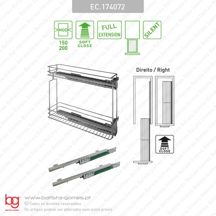 Despenseiro multiusos para aplicação porta frontal - Extração total com soft-close - Mod. 150/200 - Cromado
