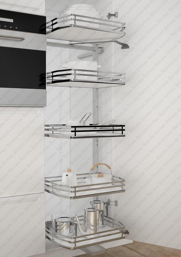 Batista Gomes - EC.295.IP | SIGE - Despenseiro multiusos com 5 cestos para aplicação porta lateral - Extracção total - Mód. 450 / 500 - Cromado