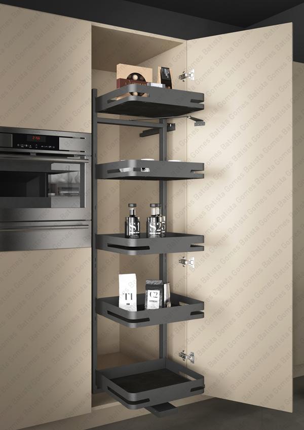 Batista Gomes - EC.295.M | SIGE - Despenseiro multiusos com 5 cestos para aplicação porta lateral - Extracção total - Mód. 450 / 500 - Antracite