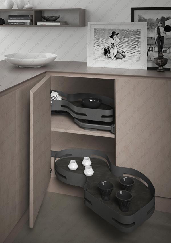 Batista Gomes - EC.371.M | SIGE - Canto mágico / Kit com 2 prateleiras para aplicação porta lateral - Mód. 900 - Antracite