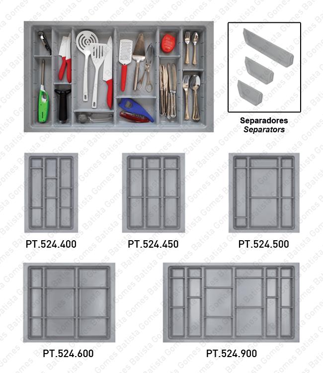 Batista Gomes - PT.524 - Porta talheres com divisores amovíveis - ABS