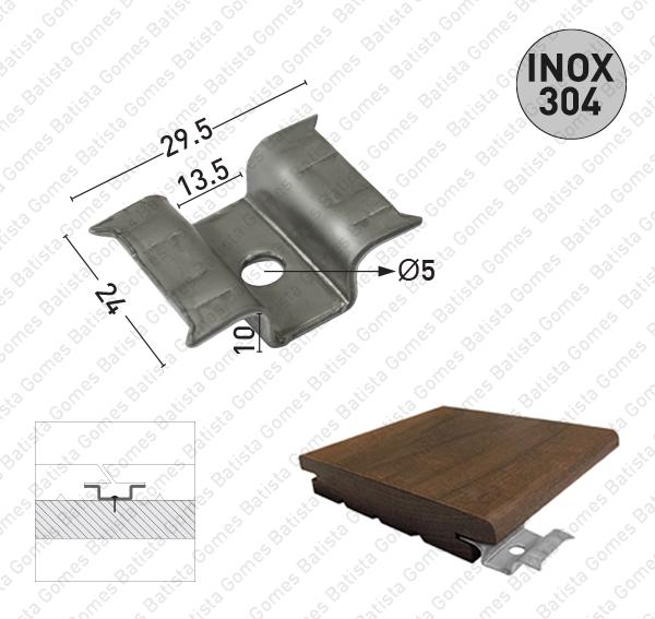 Suporte fixação deck - INOX 304