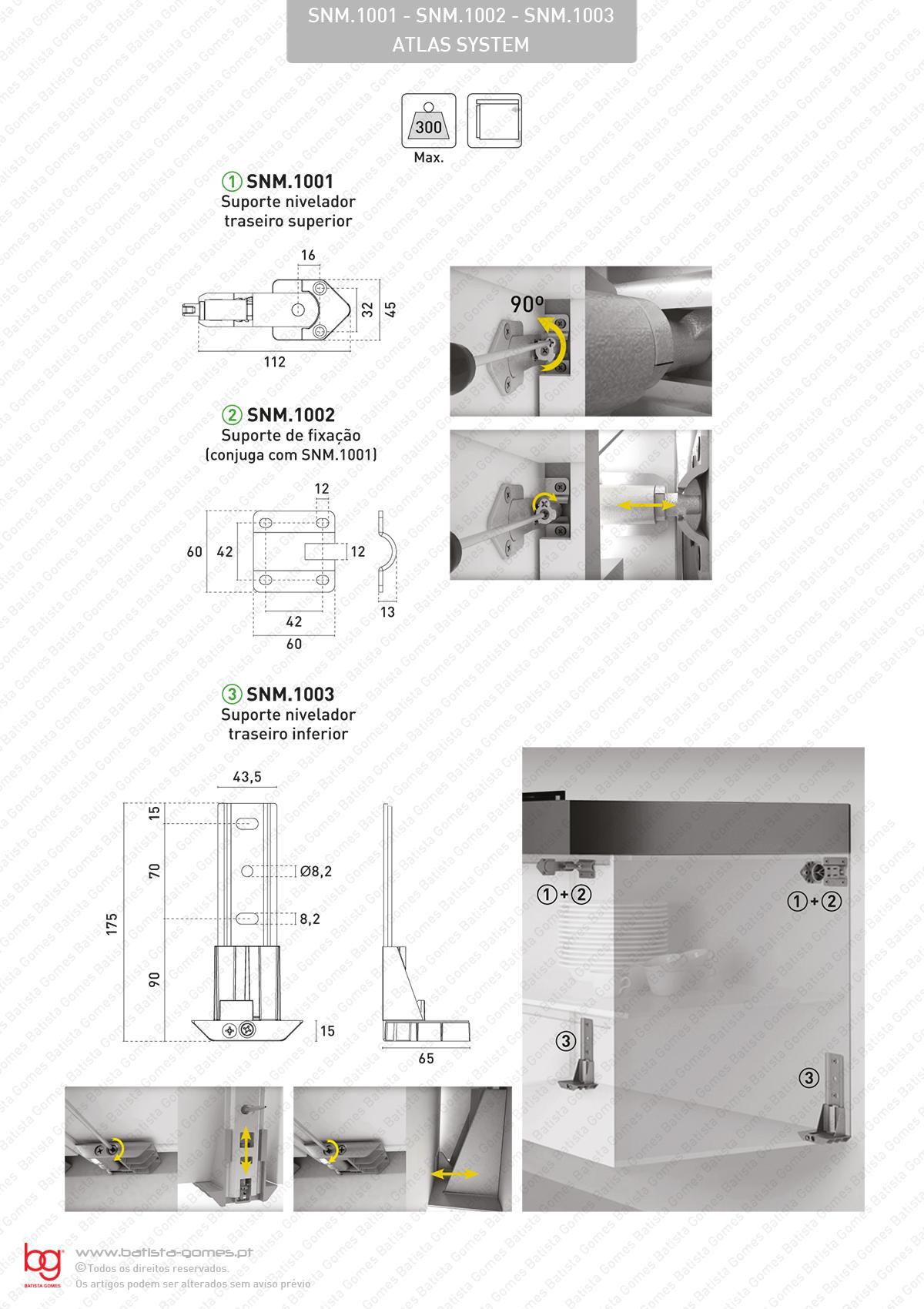 Suportes niveladores para armários grandes e suspensos